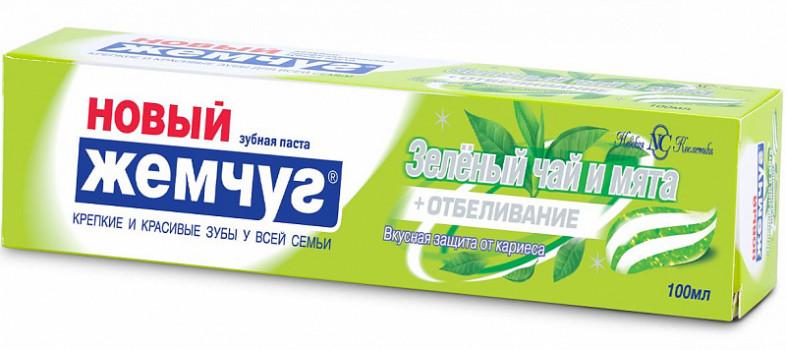 З/ПАСТА НОВЫЙ ЖЕМЧУГ ЗЕЛЕНЫЙ ЧАЙ-МЯТА+ОТБЕЛИВАНИЕ 100МЛ в Томске