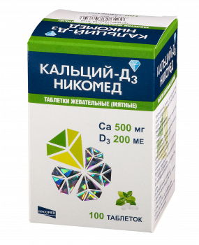 КАЛЬЦИЙ Д3 НИКОМЕД ТАБ. ЖЕВ. №100 МЯТА в Красноярске