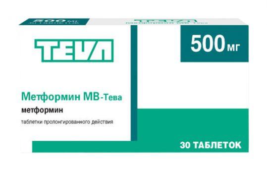 МЕТФОРМИН-ТЕВА ТАБ. П.П.О. 500МГ №30 в Екатеринбурге